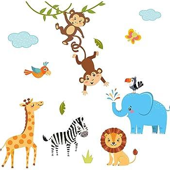 Little Deco Wandaufkleber Kinderzimmer Deko Jungen Dschungeltiere I 2 A4 Bogen I Wandtattoo Wandsticker Babyzimmer Elefant Tiere Dschungel Affen Dl214 3 Amazon De Kuche Haushalt