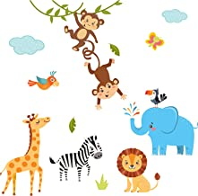 Dekodino Wandtattoo Kinderzimmer Messlatte Safari Tiere Dschungel Baby Kinderzimmer