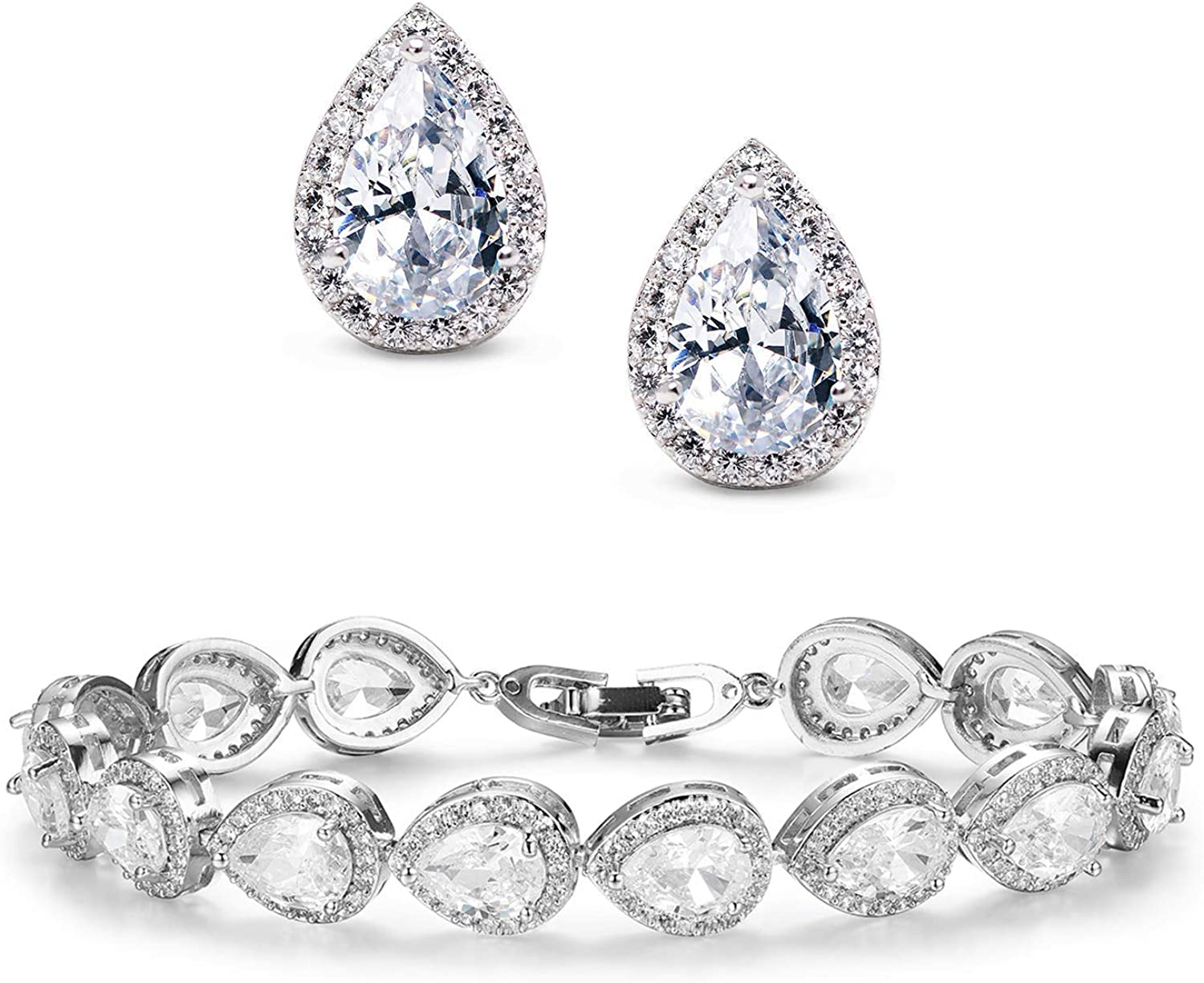 SWEETV Bridal Earrings and Bracelets Jewelry Set for brides,bridesmaid