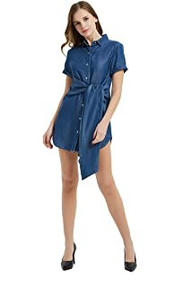 Womens Distressed Long Sleeve V Neck Button Down Denim Shirt Dress with Belt