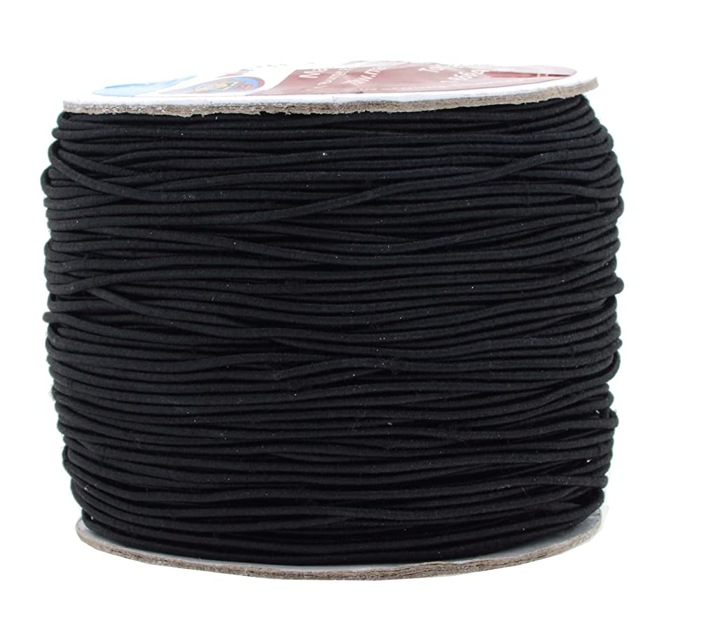 Mandala Crafts 1mm 109 Yards Round Rubber Fabric Covered Elastic Cord, Stretch String for Beading, Jewelry Making, Masks, DIY Crafting (Black)