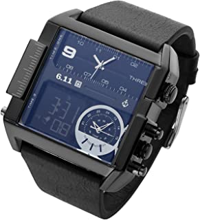 Square Men Watch Multiple Time Zone Quartz Watches Mens Leather Led Wristwatch Waterproof Relogio Masculino Sports student watch Black