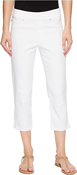 "22"" Knit Denim Pull-On Capris with Side Leg Detail in White"