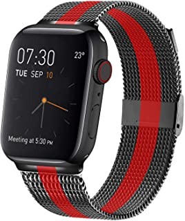 MCORS Compatible with Apple Watch Band 44mm 42mm,Stainless Steel Mesh Metal Loop with Adjustable Magnetic Closure Replacement Bands Compatible with Iwatch Series 5 4 3 2 1 Black Red