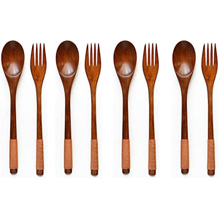 2X Tableware Wood Fork Spoon Dessert Serving Children Food Dining Utensil 、Pop