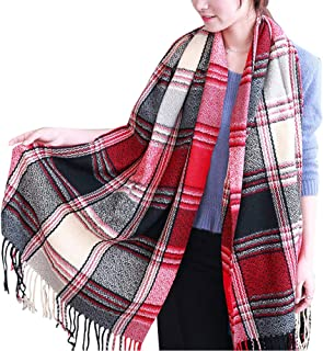 Wiwsi Women New Plaid Oblong Scarves Winter Scarf with Tassel Stole Checks Shawl