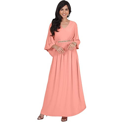 KOH KOH Womens Long Elegant V-Neck Batwing Sleeve Cocktail Kaftan Maxi Dress 230c1501c4