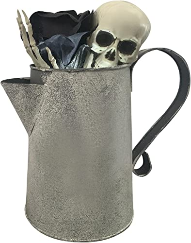 2021 Halloween Skull Water Kettle Lamp online Scary Skull and Rose sale Glowing Watering Can Home Ornament (Black Flower) online