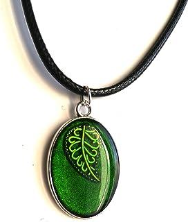 Colgante de hoja verde naturaleza camafeo collar étnico joyería hombres mujeres unisex idea de regalo resina hecho a mano