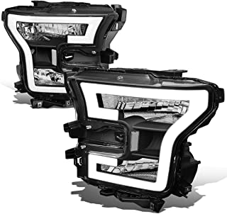 For Ford F150 Pair 3D LED DRL Tube Running Strip Headlight/Lamps (Black/Clear)