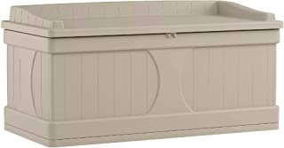 Suncast 99-Gallon Large Deck Box - Lightweight Resin Indoor/Outdoor Storage Container and Seat for Patio Cushions, Gardening Tools and Toys - Store Items on Patio, Garage, Yard - Taupe