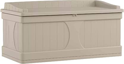 Suncast 99 Gallon Patio Storage Box - Large Water Resistant Outdoor Storage Container for Patio Furniture, Pools Toys, Yard Tools - Store Items on Deck, Porch, Backyard - Taupe