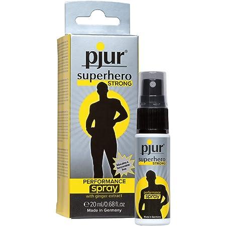 pjur superhero STRONG performance spray - Espray retardante muy concentrado para hombres - extracto de jengibre para durar más (20ml)