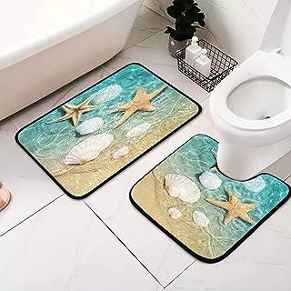 Starfish and Seashell 2 Pcs Bath Mat Sets Non Slip Bathroom Rugs Includes Bath Rug Contour for Toilet Mats U Shaped Bath Mats