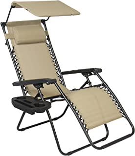 Shop4Omni Zero-Gravity Canopy Lawn & Patio Chair with Sunshade and Cup Holder (Beige)