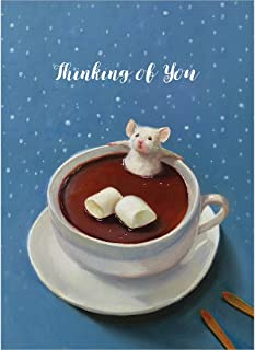 Tree-Free Greetings Holiday Greeting Cards, Hot Chocolate Mouse Happy Holidays, Vintage Brown Recycled Paper, Boxed Note Card Set, 10-Pack (HB93310)