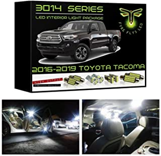 Fyre Flys 9 Piece White LED Interior Lights for 2016-2019 Toyota Tacoma Super Bright 6000K 3014 Series SMD Package Map Dome Vanity Mirror License Plate Light Bulb Kit and Install Tool