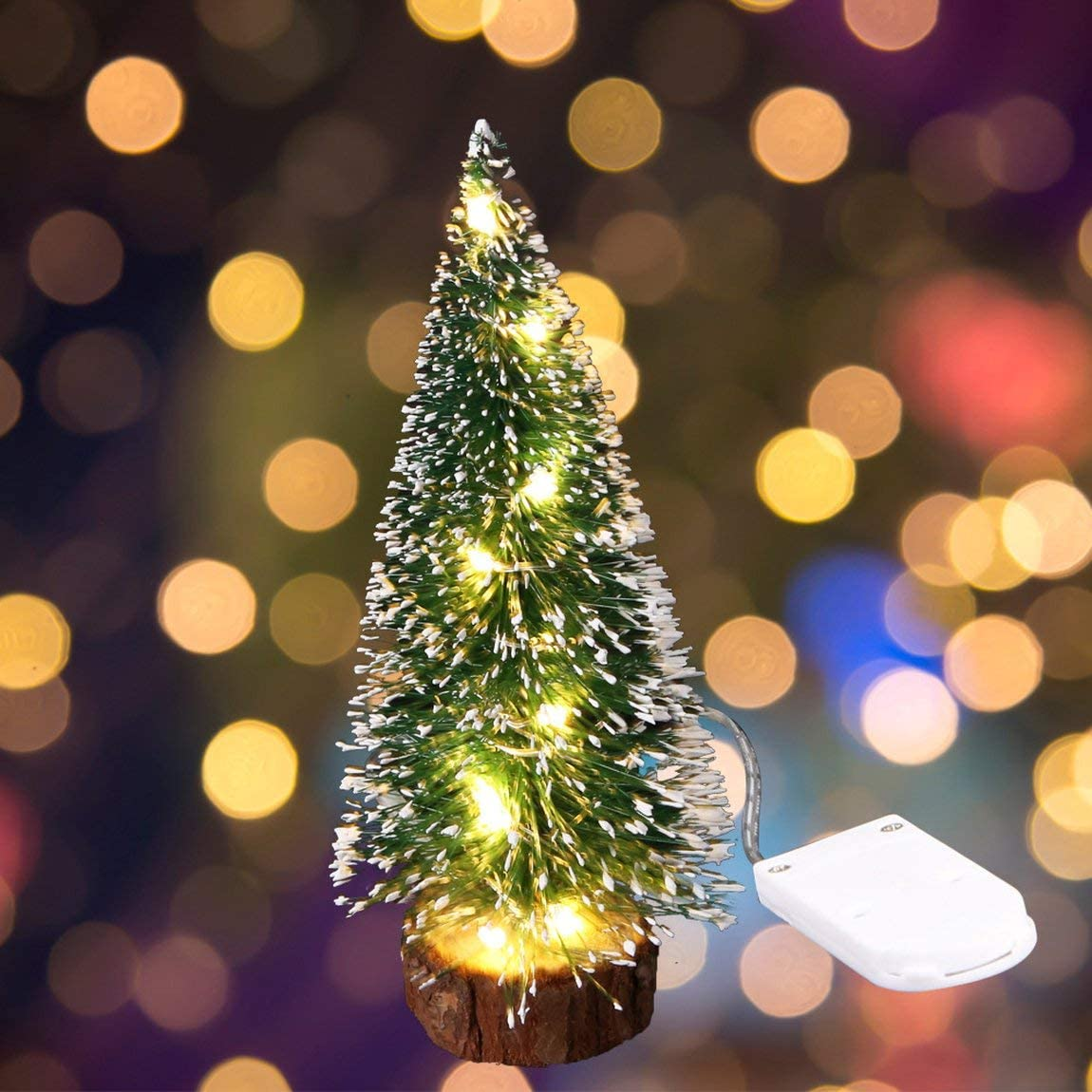 mit LED-Lichtern Kiefernnadeln SeniorMar Weihnachtsdekoration f/ür den Schreibtisch Mini-Weihnachtsbaum gr/üne Eisseite