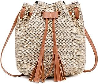 Bageek Bucket Bag Vintage Casual Satchel Bag Tassel Decor Shoulder Bag for Lady (Brown)