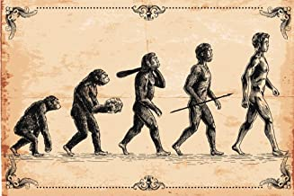 Human Evolution Concept Vintage Illustration Art Print Laminated Dry Erase Sign Poster 18x12