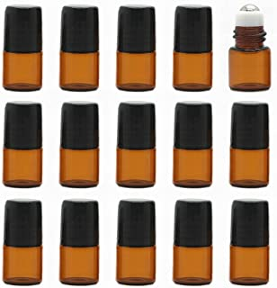 【Rurumi】ロールオンボトル 15本セット 精油 香水 小分け用 遮光瓶 セット 茶 ガラス アロマ ボトル オイル 用 瓶 ビン ロールタイプ ガラスボール (1ml 15本 セット)