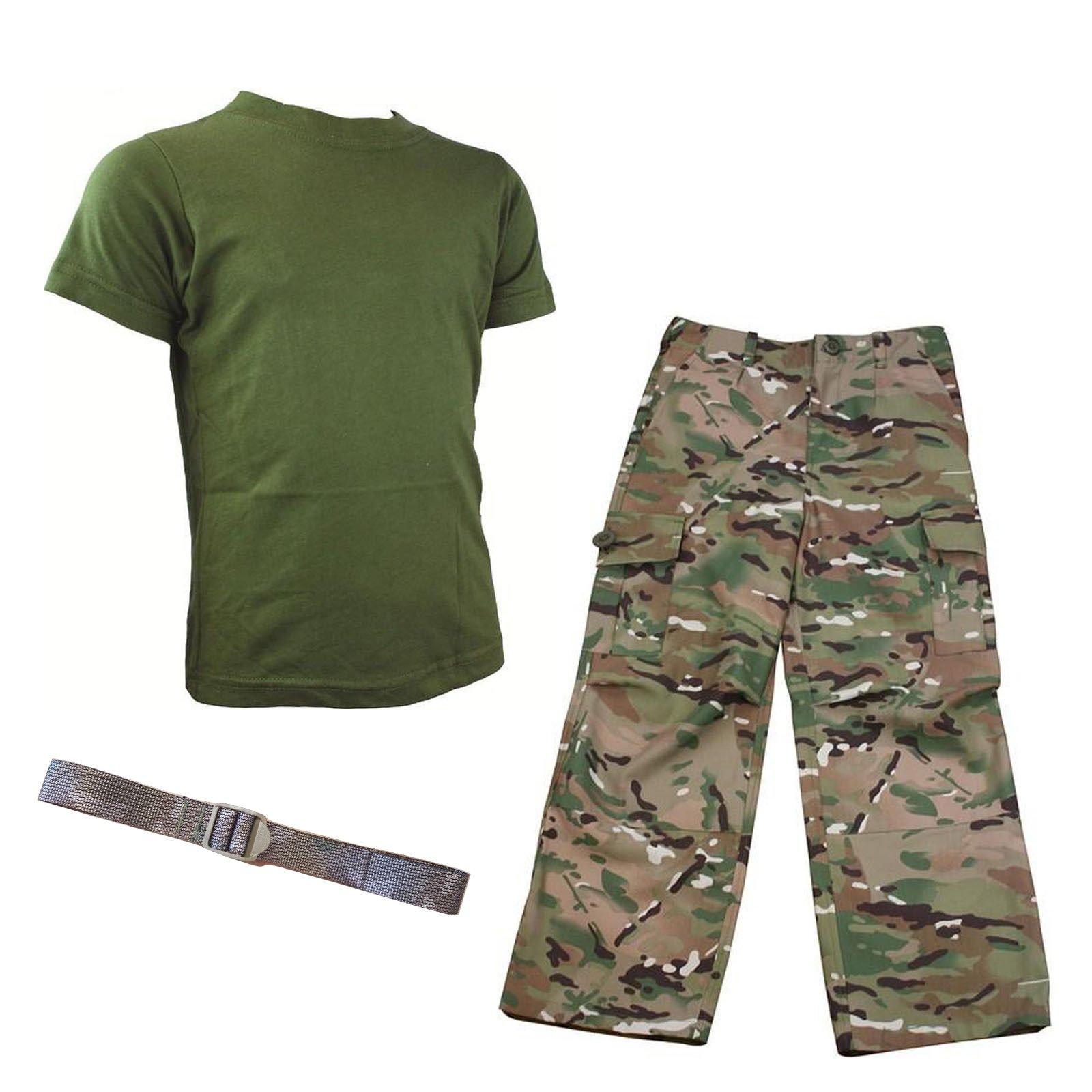 Contact Left Kids Pack 1 HMTC MTP/Multicam Match Pantalones y Camiseta Verde Oliva, Camuflaje Militar Disfraz de Soldado + cinturón, 11-12 años: Amazon.es: Deportes y aire libre
