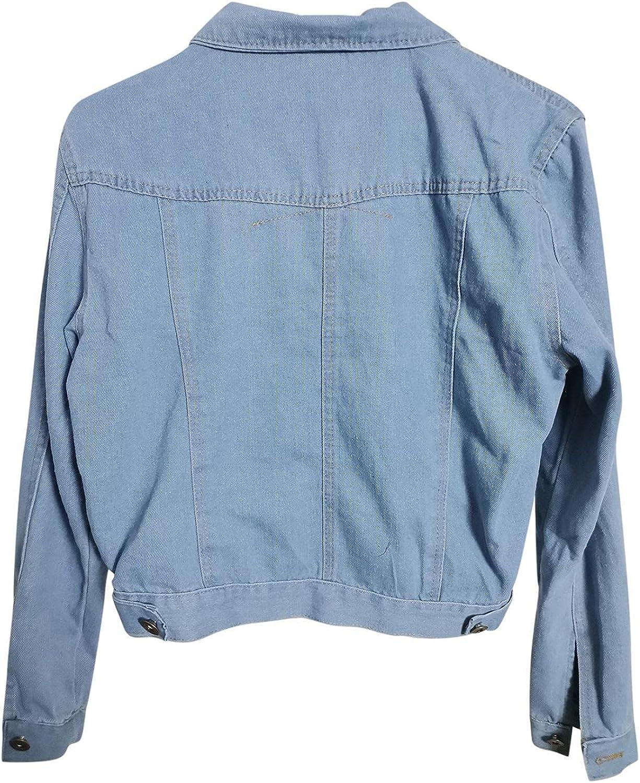 Casual Denim Jacket for Women Jeans Tops Long Sleeve Trucker Coat Outerwear Girls Slim Lapel Outercoat Windbreaker