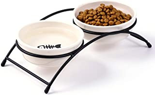 JanYoo Double Ceramic Cat Bowl Set Food Feeder with Stand Raised for Cat Dog…