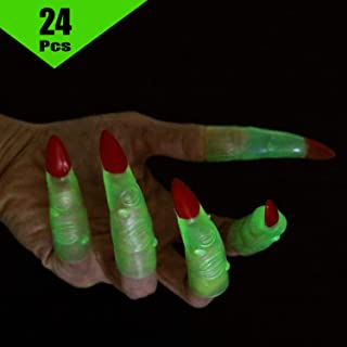 24pc Glow in The Dark Halloween Witch Fingers Witch Costume Accessory/Reading Trackers/Pointer Fingers/Martian Costume Fingers Green