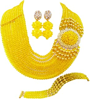 aczuv Crystal Royal Blue Beads Jewelry Set African Necklaces for Women Nigerian Wedding Jewelry Sets