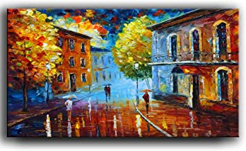Tyed Art- Landscape Oil Painting on Canvas Palette Knife Textured Paintings Rain Street Tree Lamp Abstract Landscape Art Paintings Canvas Wall Art Modern Home Living Room Office Decor 24x48inch