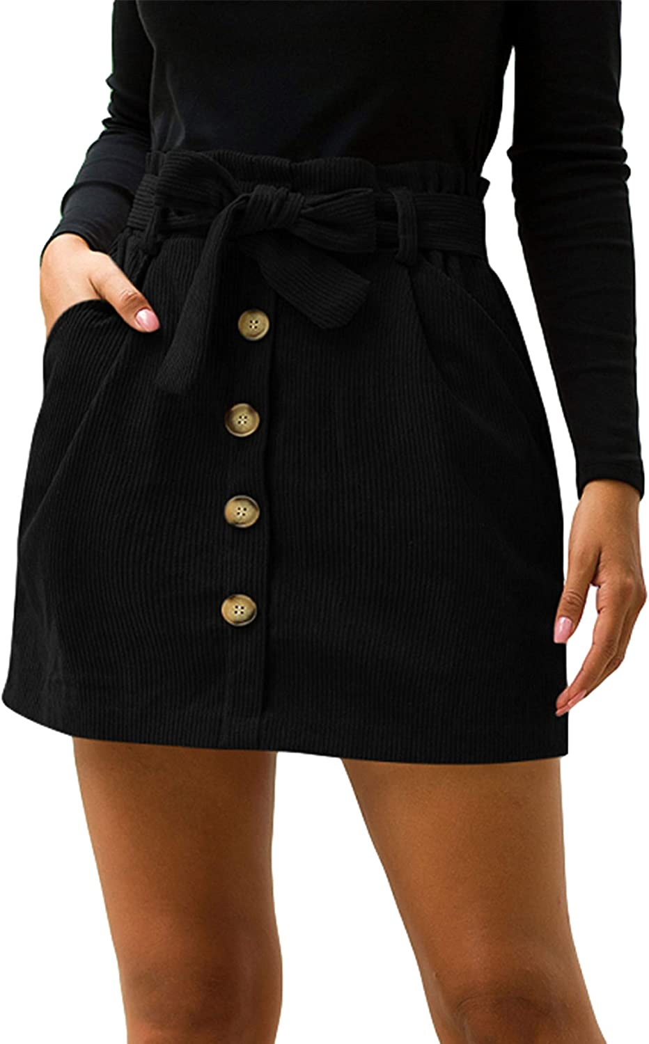 Himosyber Women's Casual Corduroy High Waist Button Trim Front Belted Mini Skirt