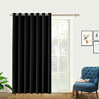 PRAVIVE Blackout Room Divider Curtains - Portable Premium Heavyweight Sound Dampening Privacy Drapes with Ring Top for Bedroom/Living Room/Sliding Glass Doors - 8' W X 7' L, Black, Set of 1