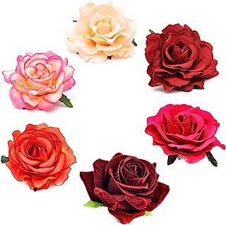 Coucoland Rose Blumen Brosche Haarclips Braut Hochzeit Haarschmuck Flamenco Tanz Haarspange Damen Fasching Kostüm Accessoires