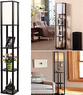Lámpara de pie de madera, 2 en 1, lámpara de pie de madera con estantes decorativos, para dormitorio, salón, hotel, moderna lámpara de noche con casquillo E27, 1,6 m, decoración de esquina