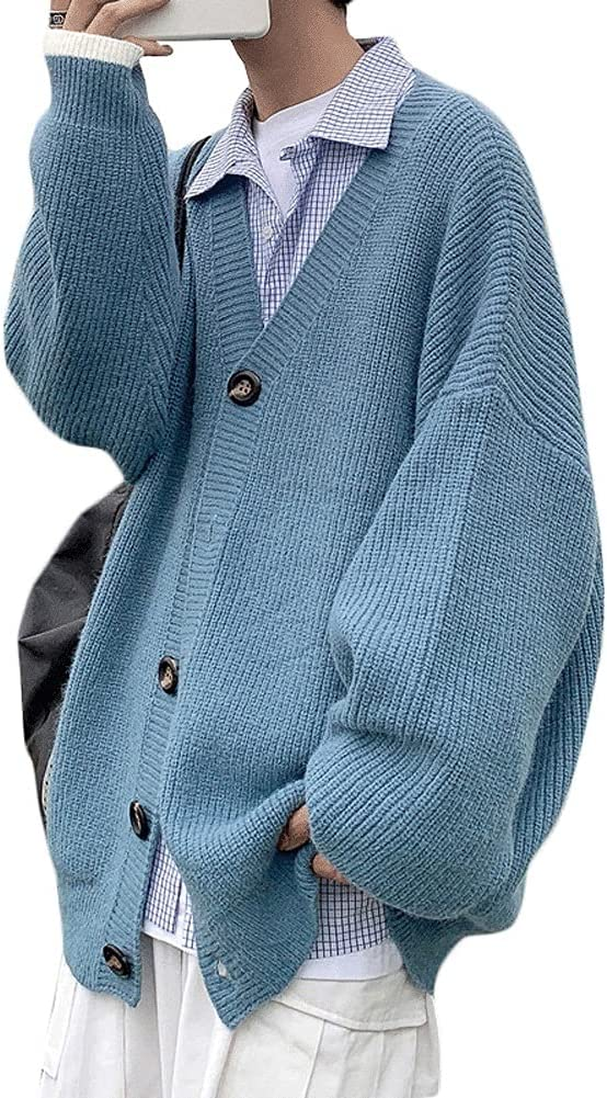 ZSQAW Casual Men Cardigan Solid Autumn Single Breasted Trendy Handsome Simple Comfortable Preppy (Color : Blue, Size : L Code)