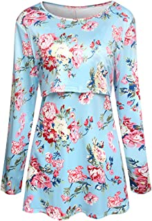 Casual Floral Printed Long Sleeve Maternity Tops, MOHOLL Long Sleeve Nursing T-Shirt Blouse Mama Breastfeeding Clothes