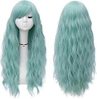 Mildiso Long Mint Green Wigs Women's Fluffy Curly Wavy Cosplay Wigs for Girl (Mint Green) M047G