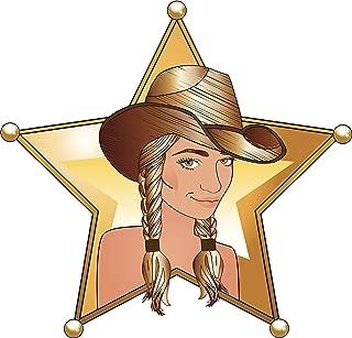 EW Designs Magnet Cute Western Cowboy in Sheriff Badge Cartoon Icon Magnetic Vinyl Magnet Bumper Sticker (8