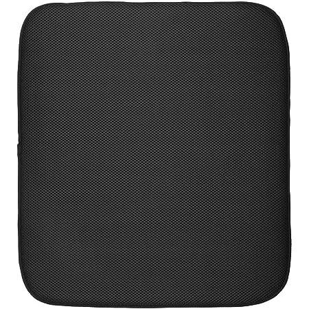InterDesign iDry tapis de sechage, grand tapis égouttoir vaisselle en microfibres polyester, tapis évier épais pour un séchage rapide, noir/blanc