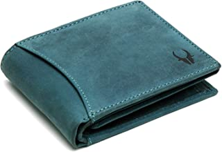 WildHorn® RFID Protected 100% Genuine High Quality Mens Leather Wallet (Blue Hunter)