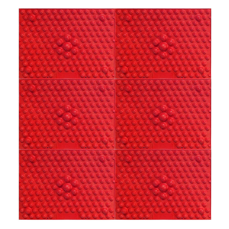 劇的未接続したい疲れsirazu(足踏みマット)ピンク6枚セット (赤)