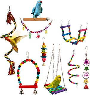 Bird Parrot Toy Hanging Bell Pet Cage Swing Toy Wooden Stand Perch Chewing Toy Bridge Ladder Spiral Rope for Parakeets Sma...