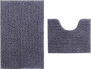 Rururug Set de 2 Tapis de Bain, Antidérapant à Poils Longs en Microfibre Chenille Tapis de Salle de Bain avec Tapis Contou...