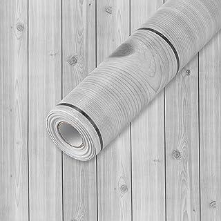 "Wall Paper Gray Wood Contact Paper 17.7""x 335"" PVC Self Adhesive Wood Wallpaper Thick Waterproof Wall Covering Wood Panel ..."