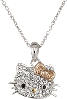 bbc19a450 Hello Kitty Czech Crystal Flat Pave Face Rose Gold Plated Bow Girl's Pendant  Necklace