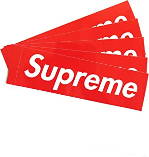 5 Pack Supreme Sticker Large 7.5 X 2.25 INCH, Classic Box Logo Vinyl Decal White RED