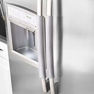 OUGAR8 Refrigerator Door Handle Covers Handmade Decor Protector for Ovens, Dishwashers.Keep Your Kitchen Appliance Clean from Smudges, Food Stains (Rhombus Light Gray)