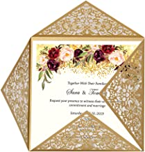 Doris Home Square Gold Laser-cut Lace Flower Pattern Wedding Invitations Cards,100pcs