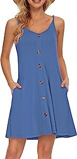 AUSELILY Vestido de Playa Informal con Cuello en V y Correa de Espagueti de Verano para Mujer con Bolsillos